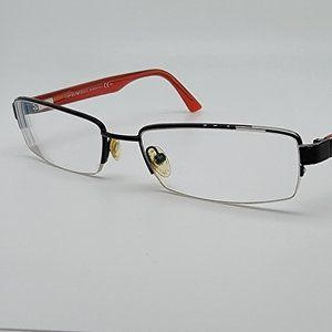 Emporio Armani EA9776 OC0 Shiny Black Crystal Red Semi Rimless Eyeglasses Frame